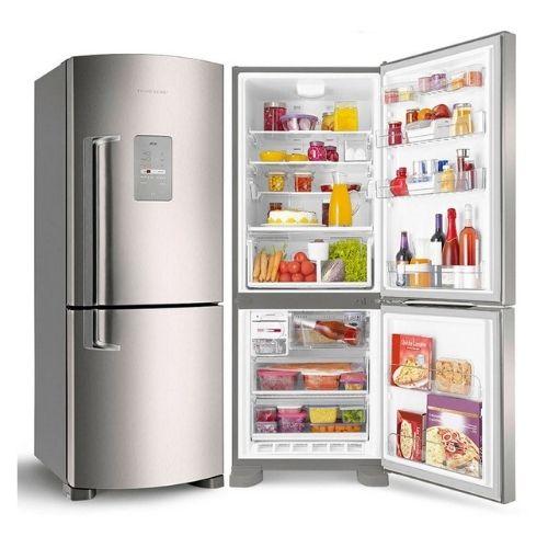 Geladeira Inverse Electrolux Botto Freezer Frost Free 454 Litros Inox DB53X