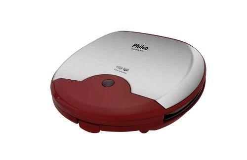 Mini Grill Philco Inox Vermelho 750W