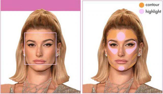 Use o pó iluminador para rosto quadrado